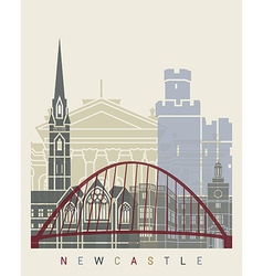 Newcastle skyline poster vector image vector image
