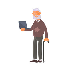 old man with laptop vector image