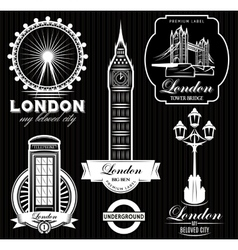 set of patterns with London attractions vector image vector image