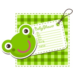 Baby shower frog invitation card vector