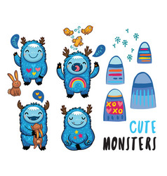 cute monsters friendly stickers set vector image