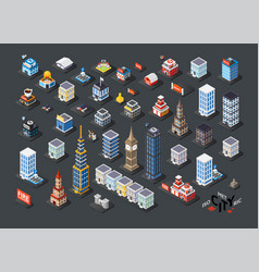 isometric projection of 3d buildings vector image vector image