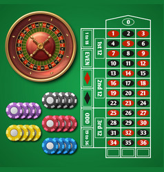 online casino roulette and gambling table with vector image vector image