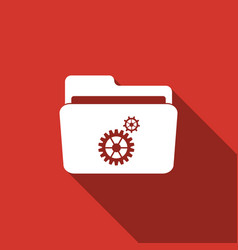 Settings folder icon isolated with long shadow vector