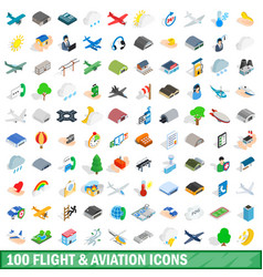 100 flight aviation icons set isometric 3d style vector image