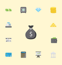 flat icons bank till ingot and other vector image vector image