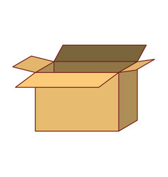Opened cardboard box icon colorful silhouette vector