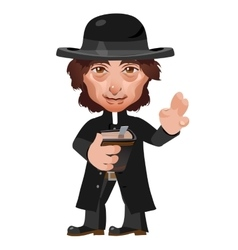 Preacher in Wild West cartoon character vector image
