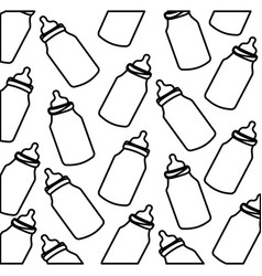 silhouette pattern baby bottles with suck vector image