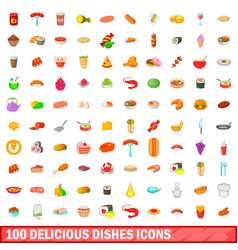 100 delicious dishes icons set cartoon style vector