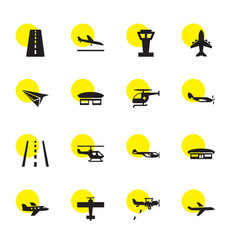 16 aviation icons vector image