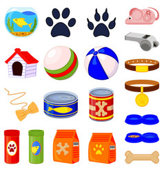 20 colorful cartoon pet shop elements set vector image