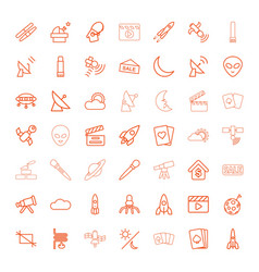 49 space icons vector image