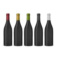 5 realistic black wine bottles without vector
