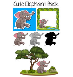 a pack of cute elephant vector image