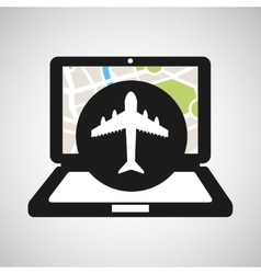 Airport laptop map gps vector