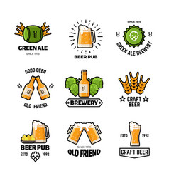 Beer pub logos and emblems brewery vector