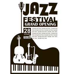 Black jazz festival poster with music instruments vector