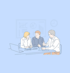 Business session cooperation teamwork concept vector