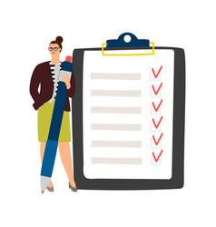 Businesswoman checklist management vector