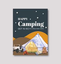 Camping poster design with tent car backpack vector