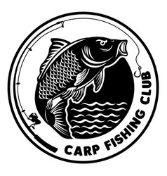 Carp fishing club logo design vector
