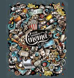 cartoon doodles cinema movie vector image