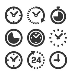 clock icons set on white background vector image
