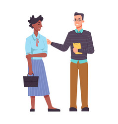 colleagues communicate man and woman support help vector image