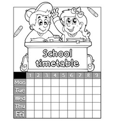 Coloring book timetable topic 2 vector