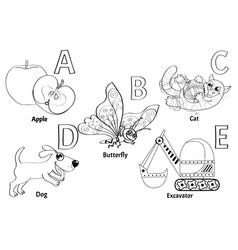 colorless alphabet for kids vector image
