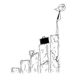 Conceptual cartoon of businessman facing bankrupt vector