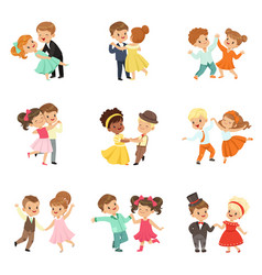 couple of little kids dancing set modern and vector image