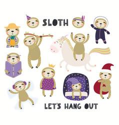 Cute little sloth set vector