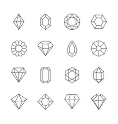 diamond icon jewels outline symbols gems stones vector image