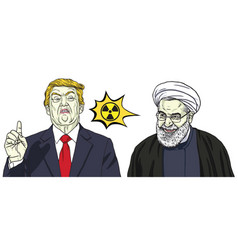 donald trump and hassan rouhani cartoon vector image