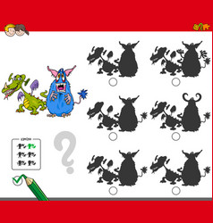 educational shadow game with monsters vector image