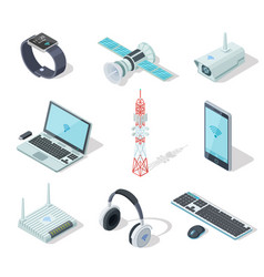 Electronic devices isometric wireless gadgets vector