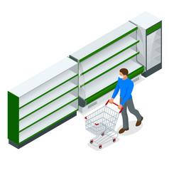 empty shelves in supermarket store due vector image
