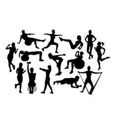 fitness gym and weightlifting silhouettes vector image