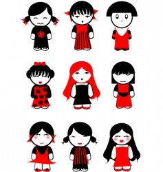 Girl dolls vector