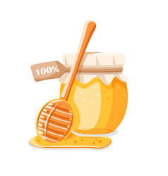 Glass pot with honey spoon with drips honey vector