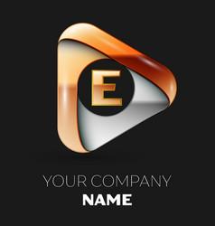 Golden letter e logo in golden-silver triangle vector