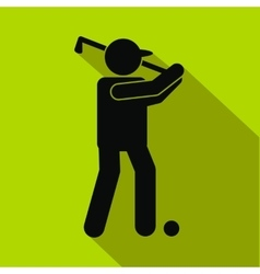 golfer silhouette flat icon vector image