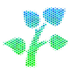halftone blue-green flora plant icon vector image