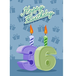 Happy birthday card with 36th birthday vector image vector image