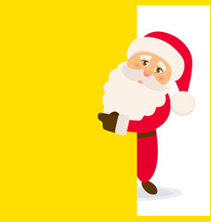 happy santa standing behind a blank sign vector image