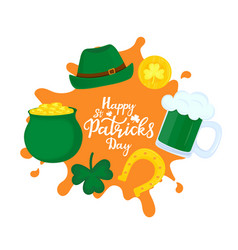 happy st patricks day banner a pot of gold mug vector image