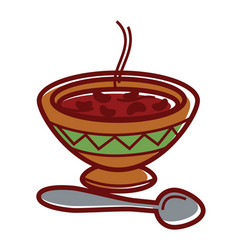 hot bean soup in clay bowl with ornament vector image