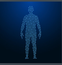 human body made by points and lines polygonal low vector image